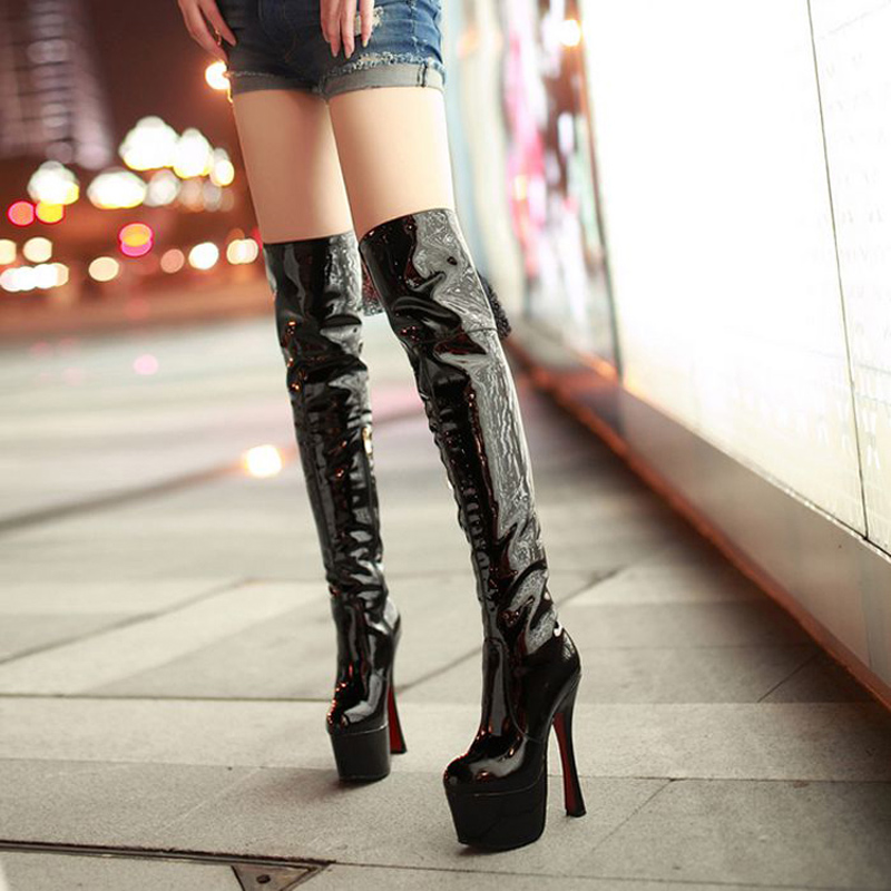 16cm超高跟鞋粗跟防水台过膝长靴12厘米小码33码女王女鞋长靴子