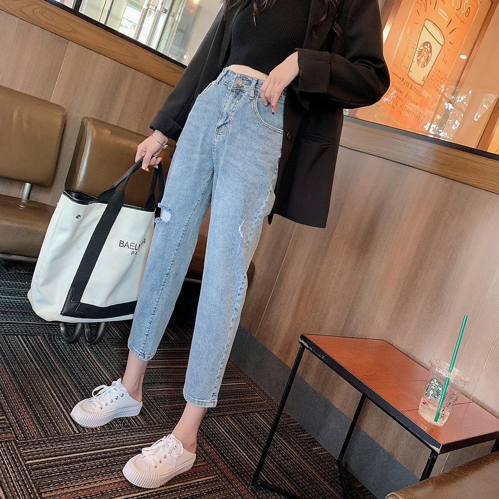 Q3682-2019早秋新款女装高腰时髦破洞显瘦宽松哈伦裤牛仔裤 0722