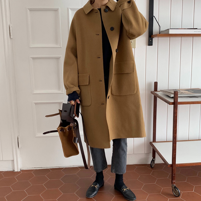 韩国女装2019冬季BF帅气男友风 中长款双面羊绒毛呢大衣外套F-E35