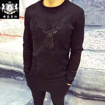 2017 winter new men's fashion Slim plus velvet T-shirt elk pattern embroidery printing Korean men's long-sleeved T-shirt