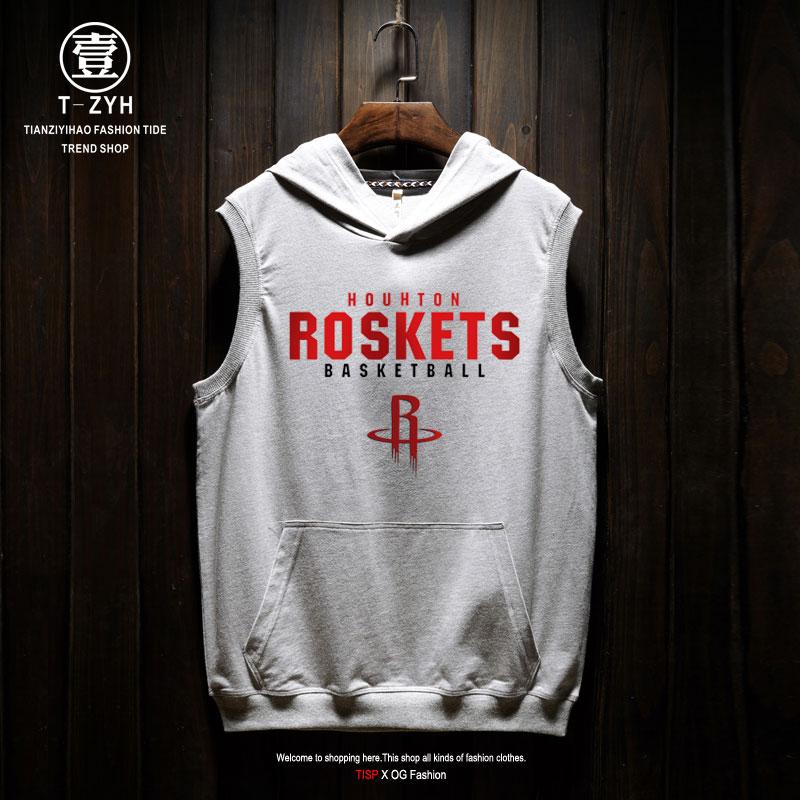 夏季欧美街头火箭队哈登球衣13号背心篮球训练运动宽松无袖套装男