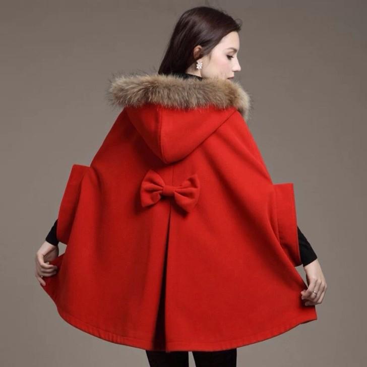 冬季斗篷毛領毛呢外套大紅色披肩女巫魔法斗篷圖片