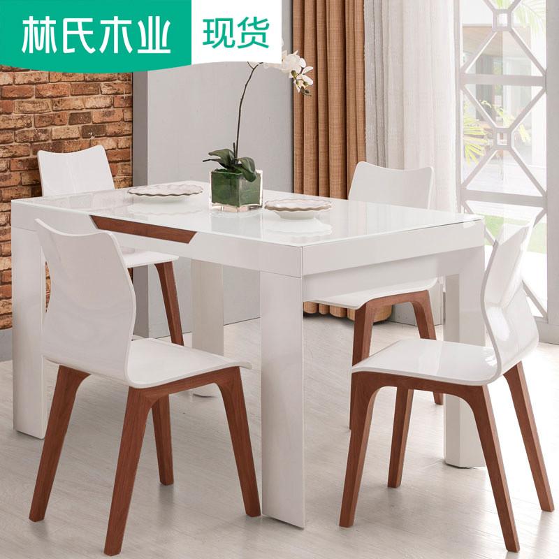 Hiện đại tempered glass bàn ăn và ghế kết hợp 6 người telescopic trắng đơn giản bảng gạo đồ nội thất nhà hàng CZ1