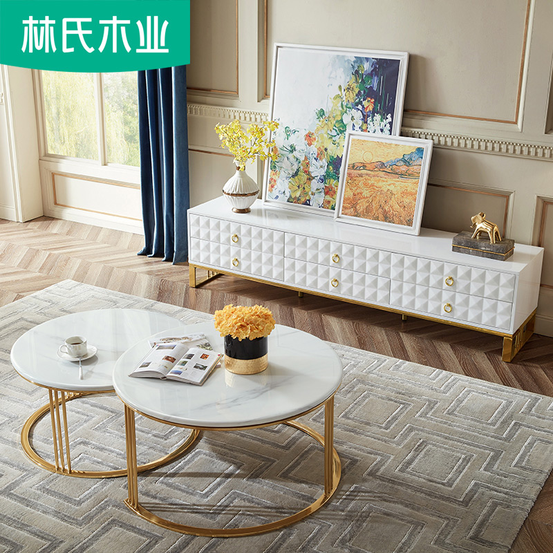 林氏木業現代簡約客廳仿大理石茶幾電視柜組合套裝客廳電視桌DZ1M