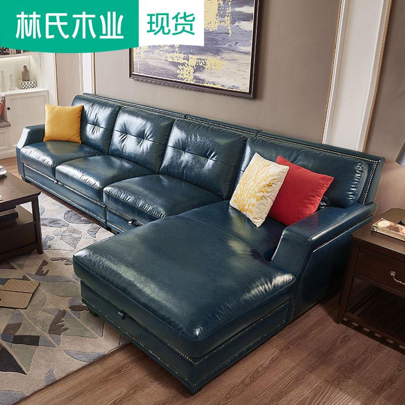 美式復古家具仿油蠟皮藝沙發組合客廳整裝小戶型儲物沙發皮質2088