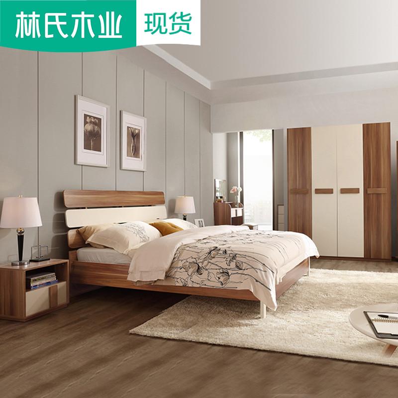Lin của Gỗ Giường Đôi Đơn Giản Tủ Quần Áo Dresser Phòng Ngủ Đặt Đồ Nội Thất Thiết Lập Kết Hợp Sáu mảnh CP4A