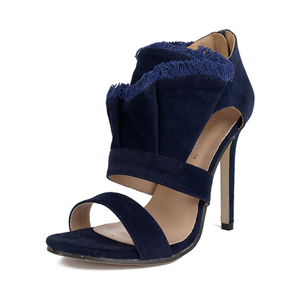 Ankle strap heeled sandal with frayed edges's main photo