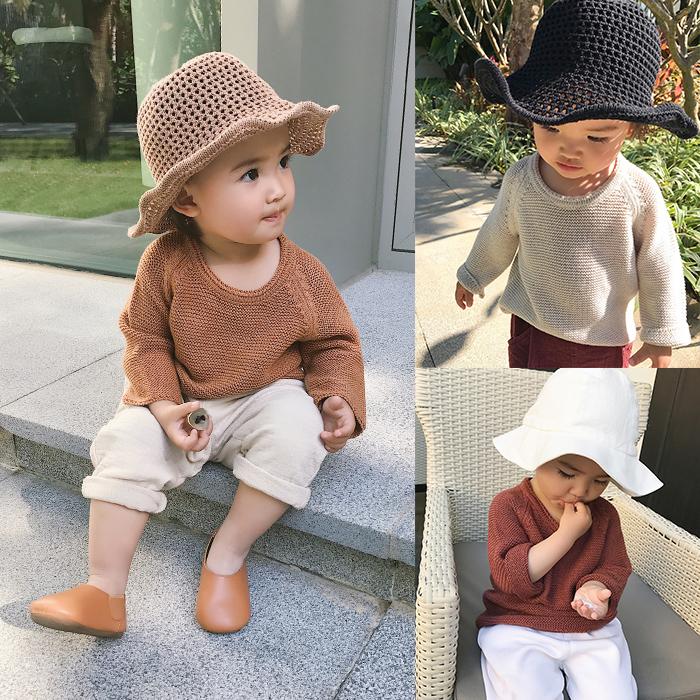 辰辰妈婴童装婴儿春装女童宝宝套头毛衣针织衫慵懒风男小童打底衫