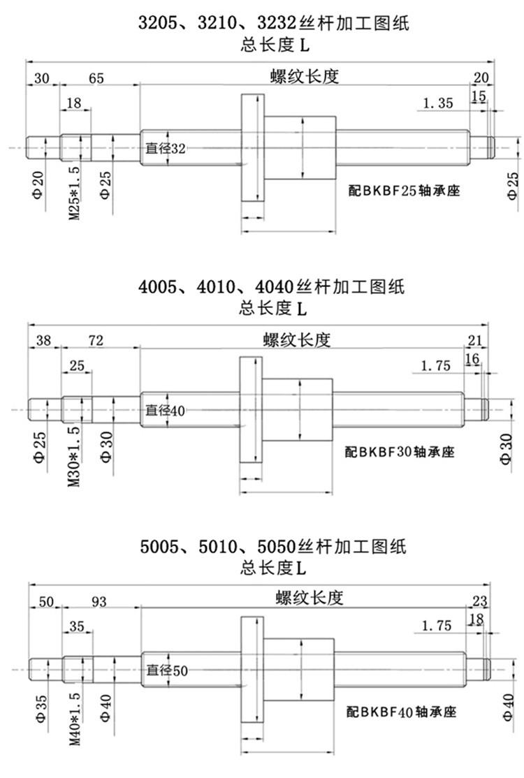 高精密滚珠丝杠杆SFU1204/1605/2505/3210/4010/5010螺母加工定制(图6)