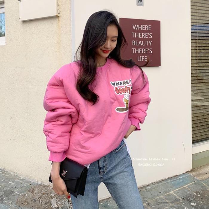 粉色ins网红女装可爱上衣印花太空棉套头卫衣卡通秋冬厚少女外套