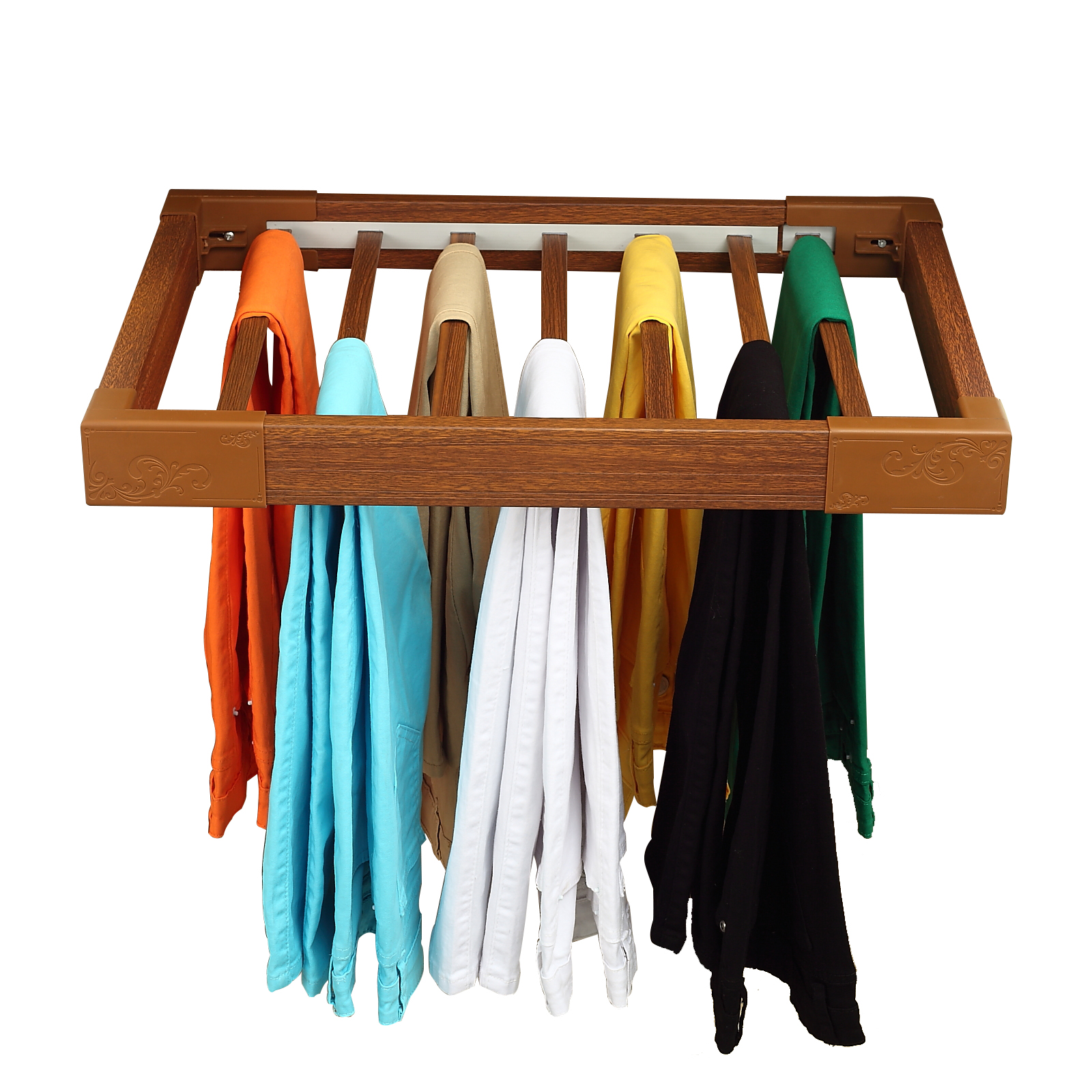 rack wooden trolley rolling pants organizer trouser compact itm jeans closet cart