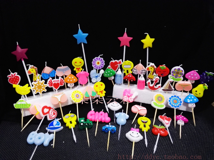 Single Price Bulk Series 2 No Packaging Birthday Candles Various Styles Mini Creative Cake Decoration Children
