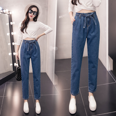 Autumn large size women fat mm2017 new fat sister fat 200 pounds high waist jeans plus fertilizer increase