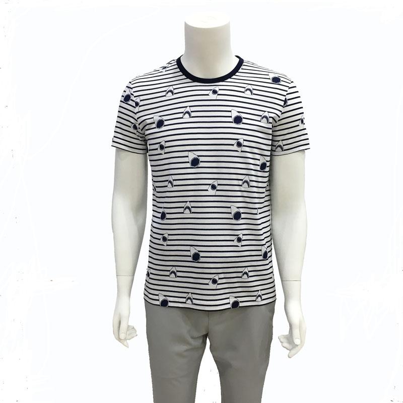 金利来男新款修身圆领v圆领条纹T恤短袖夏装商务MTS18321018-35/64