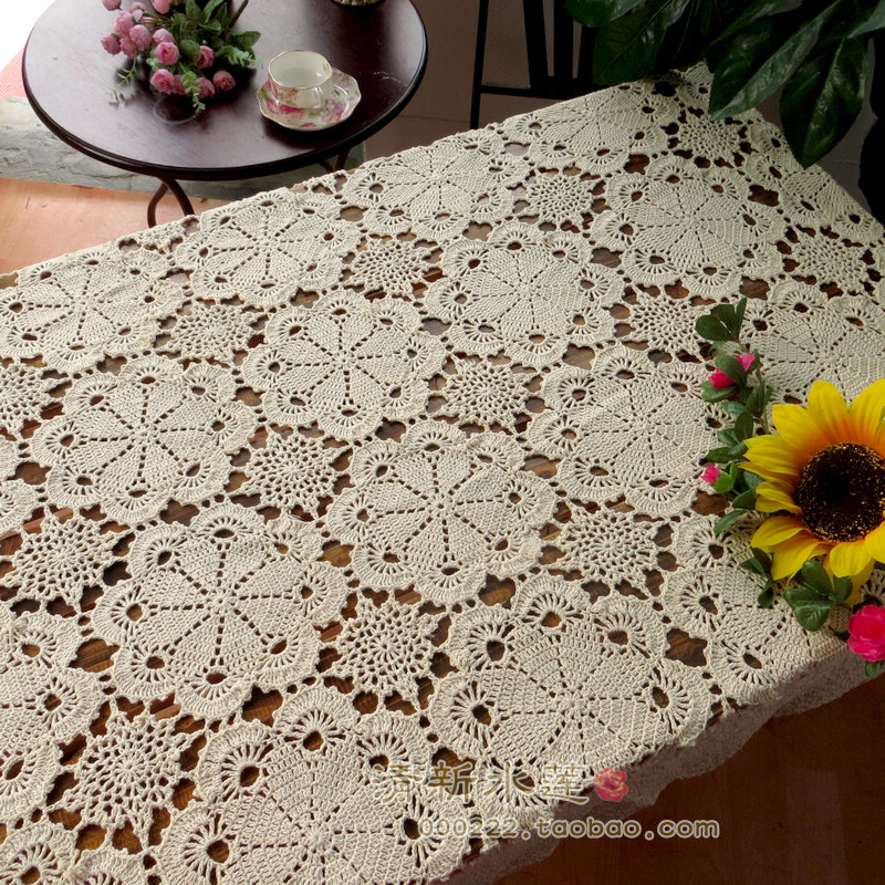 Fresh Lotus Handmade Crochet Tea Several Sets Of Cover Cloth Pastoral Retro Cotton Lace Hollow Woven Table Cloth