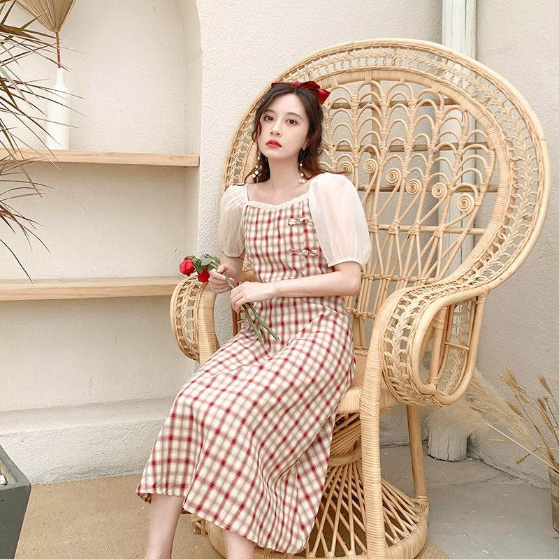 Sườn xám phiên bản cải tiến đầm nữ 2020 mới lưới mùa hè khâu tay áo kẻ sọc vuông cổ áo che bụng váy dài - Sản phẩm HOT