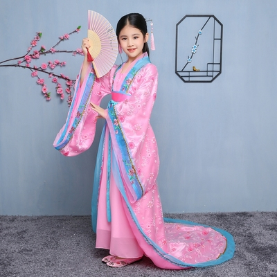 Chinese Folk Dance Dress Girls costume Tang Dynasty court chaise tail dress Fairy princess dance guzheng costume Children's Chinese costumes