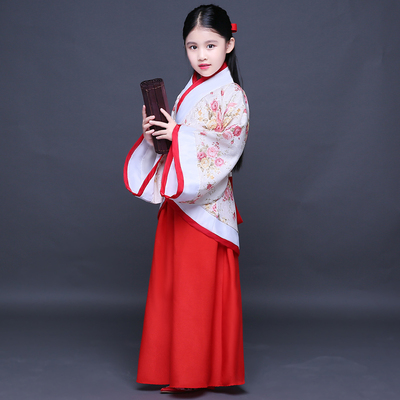 Chinese Folk Dance Dress Children's costumes cotton and linen Hanfu girls costume costumes Tangzhuang fairy gown costume