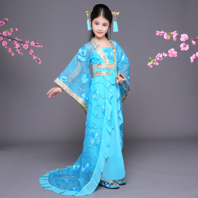 Chinese Folk Dance Dress Children's chaise longue dress costume fairy fairy Tang Dynasty Princess Hanfu guzheng dance cos photography costume