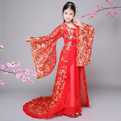 Chinese Folk Dance Dress Children's chaise longue dress tail dress girls Tang Dynasty Princess Hanfu skirt fairy court COS dance costumes