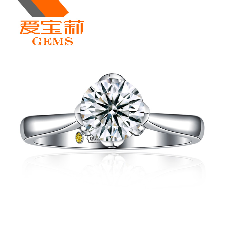 Diamond Devoted Diamond Ring Round Shape Authentic 2 Carats Wedding 18k White Gold 4 Prongs Easy To Lubricate Fine Jewelry