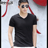 Modal cotton short-sleeved men's t-shirt pure white v-neck slimming clothes trend men's plus velvet half-sleeved shirt