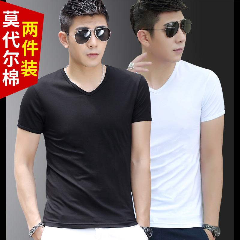 Modal cotton short-sleeved men's t-shirt solid color v collar slim bottoming shirt sports clothes tide men's half sleeve shirt