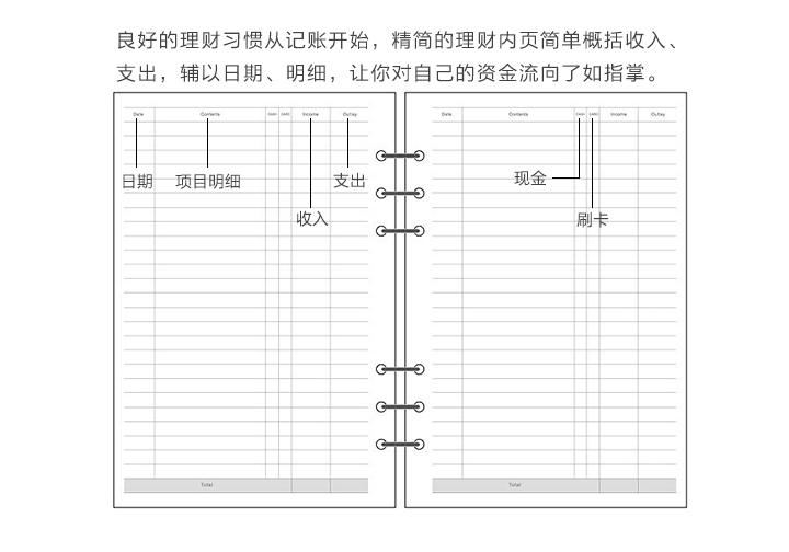 米苏简约孔月週日笔记本日记本计划本手帐本内页替换芯详细照片