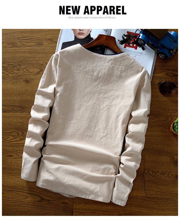 Trung quốc phong cách đàn ông của quần áo linen mùa xuân T-Shirt phong cách Trung Quốc khóa retro quần áo cotton linen phần mỏng dài tay áo màu rắn áo phông dài tay nam