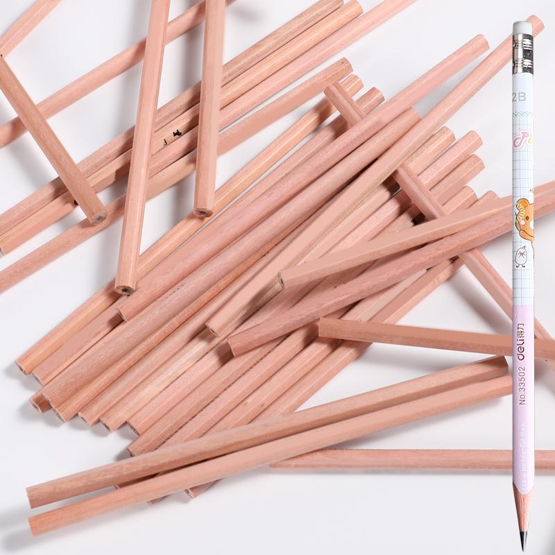 得力2b铅笔批发儿童安※全hb铅笔考�L试原木2比铅笔素描小学生专用∑ 一年级2h文具用品无毒无铅幼儿园用初学者书写