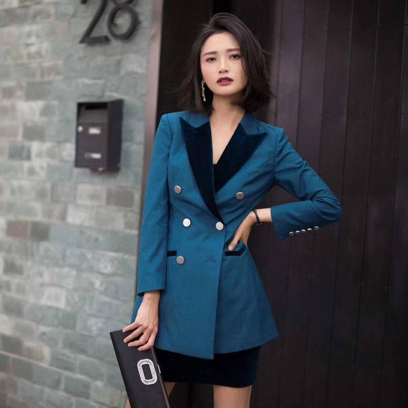 外套19春秋新款湖蓝中长套装a外套气质短裙OL职业欧美西装裙半身女