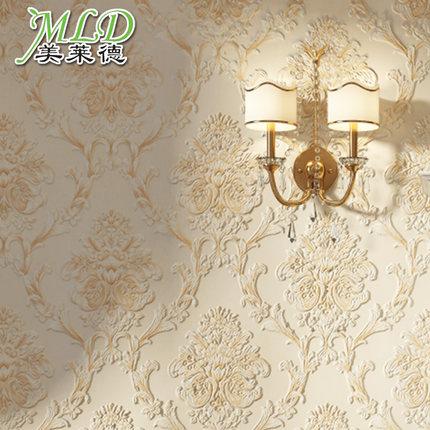 美莱德 客厅墙纸欧式3D立体卧室壁纸欧式无纺布