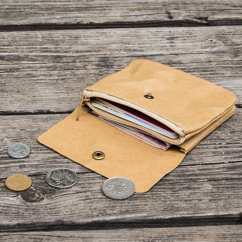 水洗牛皮纸小清新简约迷你超薄双层搭扣零钱包硬币学生可爱小钱包