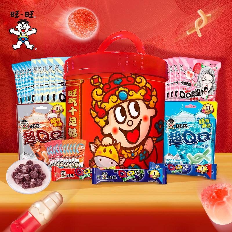 旺仔QQ欢乐桶软糖棒棒糖550g