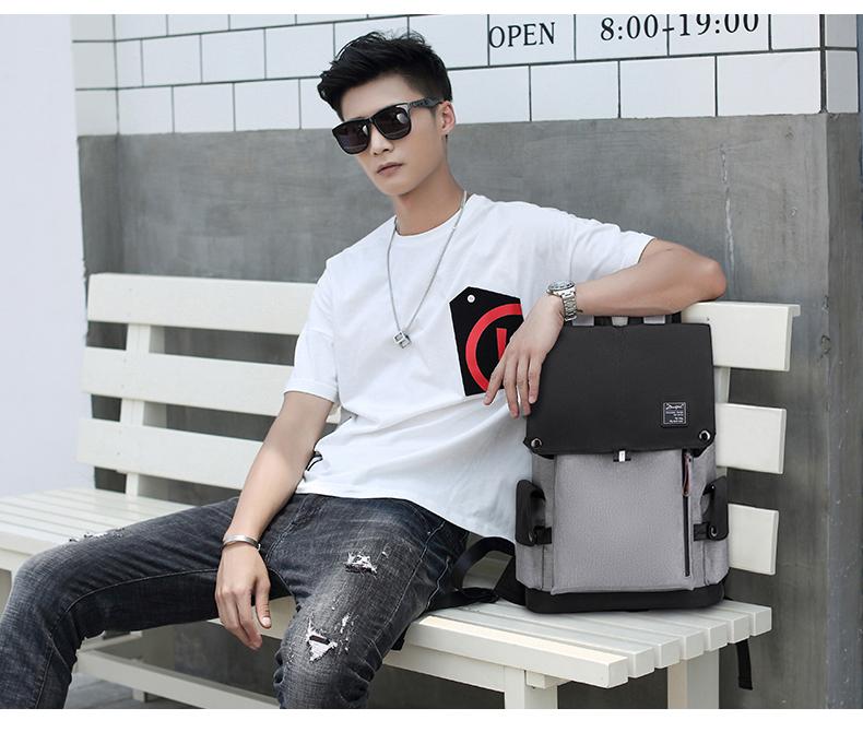 Casual backpack men's backpack fashion trend youth men's bag large capacity computer bag tide 16