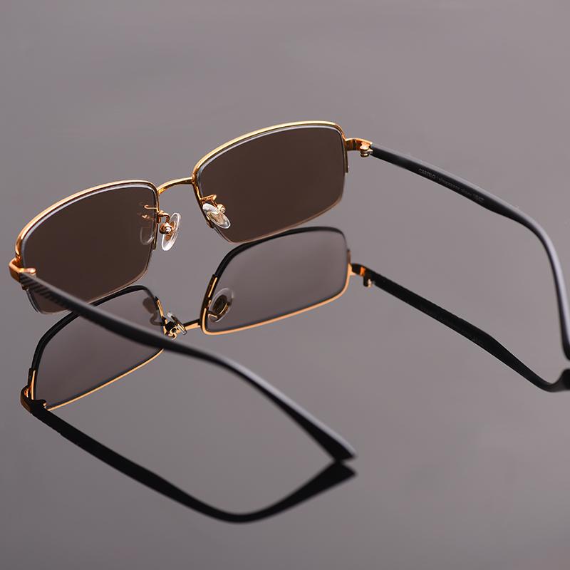 高档纯天然水晶石头眼镜男士款养目太阳镜时尚开车抗疲劳方形墨镜