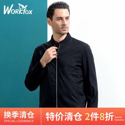 金狐狸男装春秋中年防风棒球领夹克