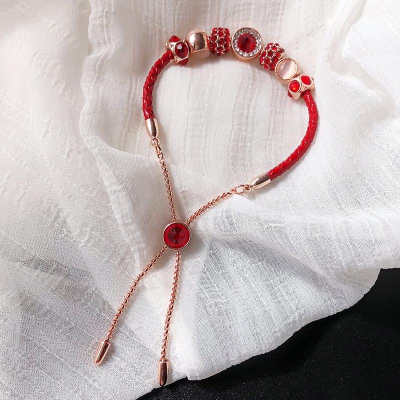 本命年红绳百搭手串转运珠皮编织手链可调节手镯红色手饰品礼物女