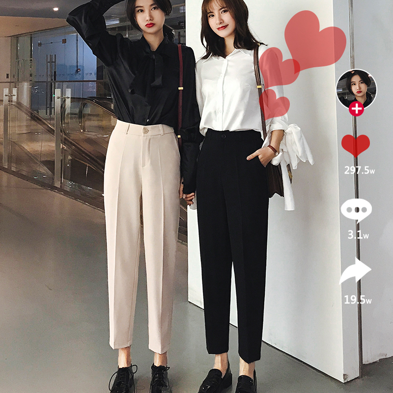 【网红同款】韩版帅气西装烟管裤