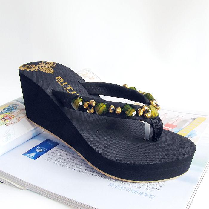 越南平仙人字拖女夏季拖鞋外穿凉拖厚底女士v仙人时尚坡跟高跟沙滩