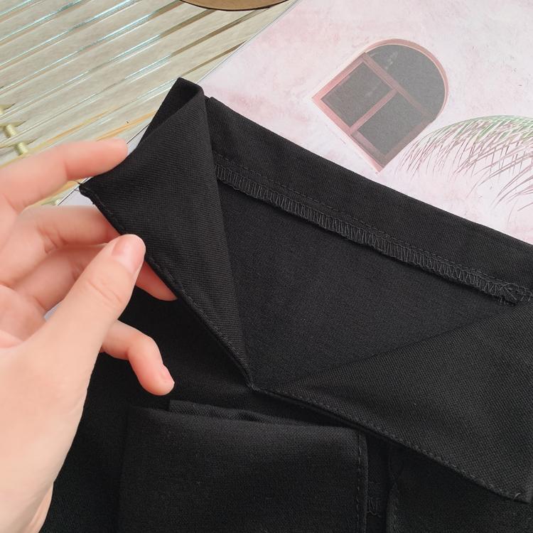 显瘦顺滑弹力罗马布小黑裤高腰后开叉合身西装直筒裤九分烟管裤详细照片