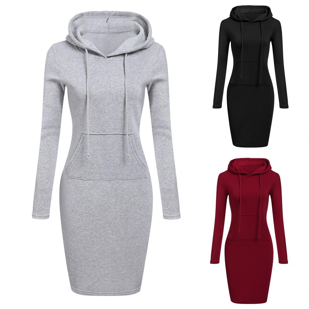 秋冬欧美时尚女装速卖通ebay女装新品中长款连帽长袖卫衣连衣裙