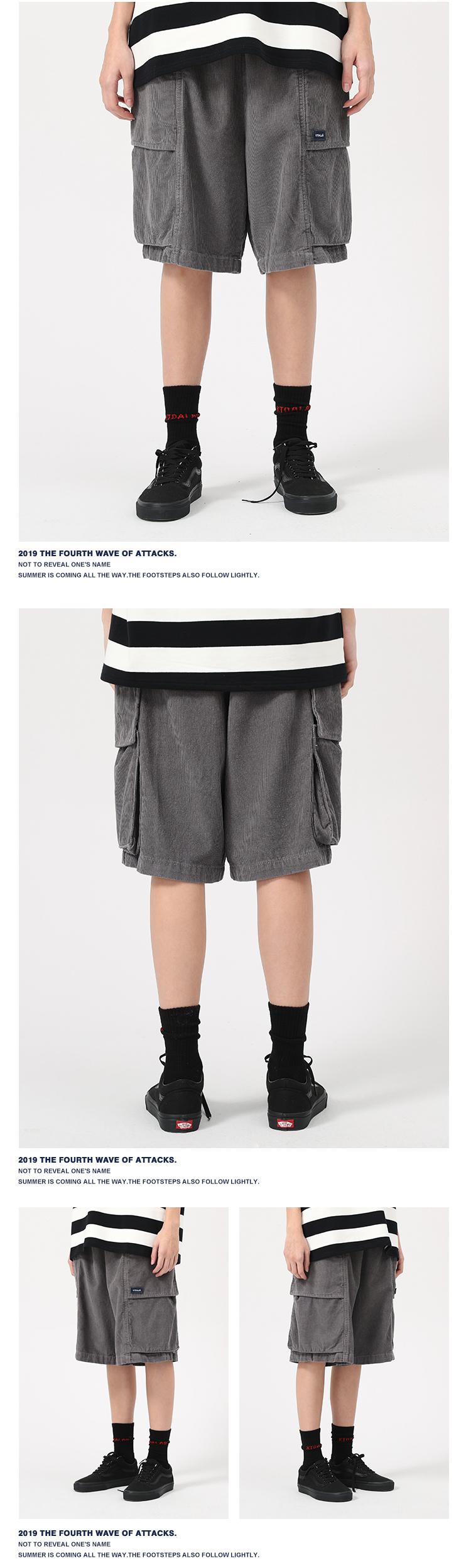 KTDA19SS quần short nhung kẻ sọc retro overalls quần năm điểm thường xuyên nam và nữ lỏng lẻo quần thủy triều thẳng thương hiệu - Quần short