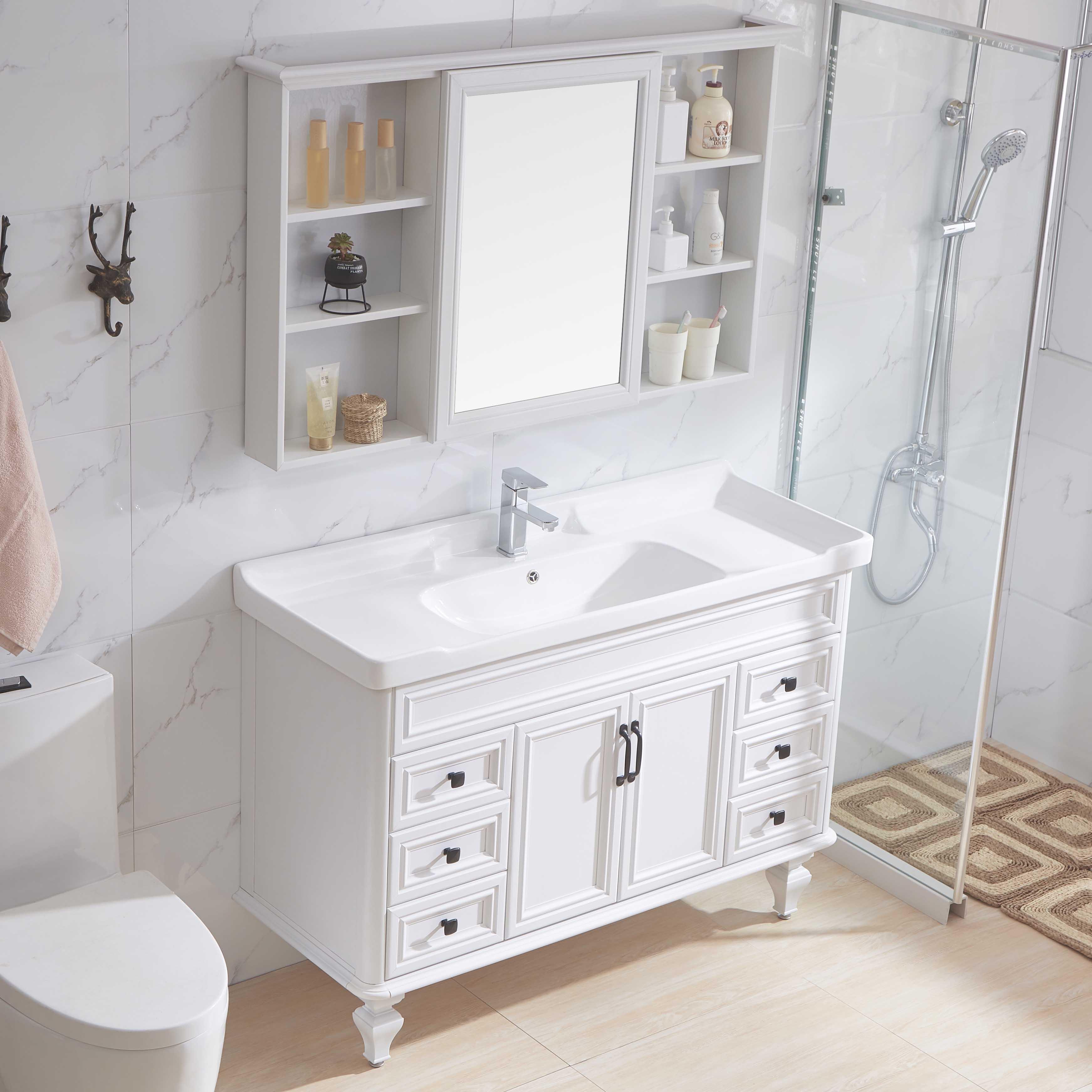 美式碳纤维落地式浴室柜卫生间镜箱柜洗漱台池洗脸盆柜组合洗手台