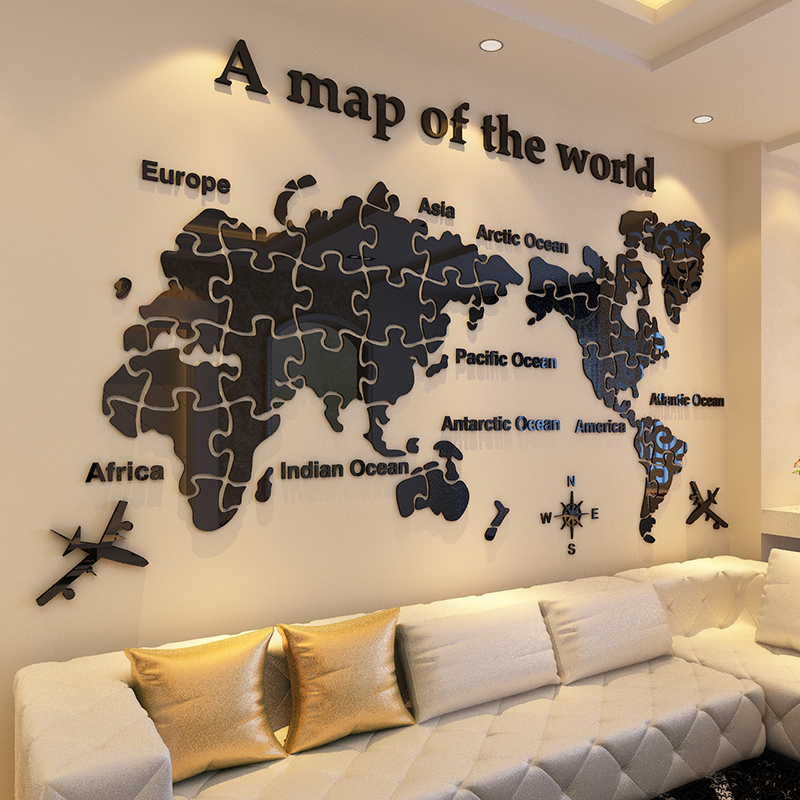 Usd 2438 world map acrylic 3d wall stickers office living room world map acrylic 3d wall stickers office living room background wallpaper bedroom large wall decoration gumiabroncs Image collections