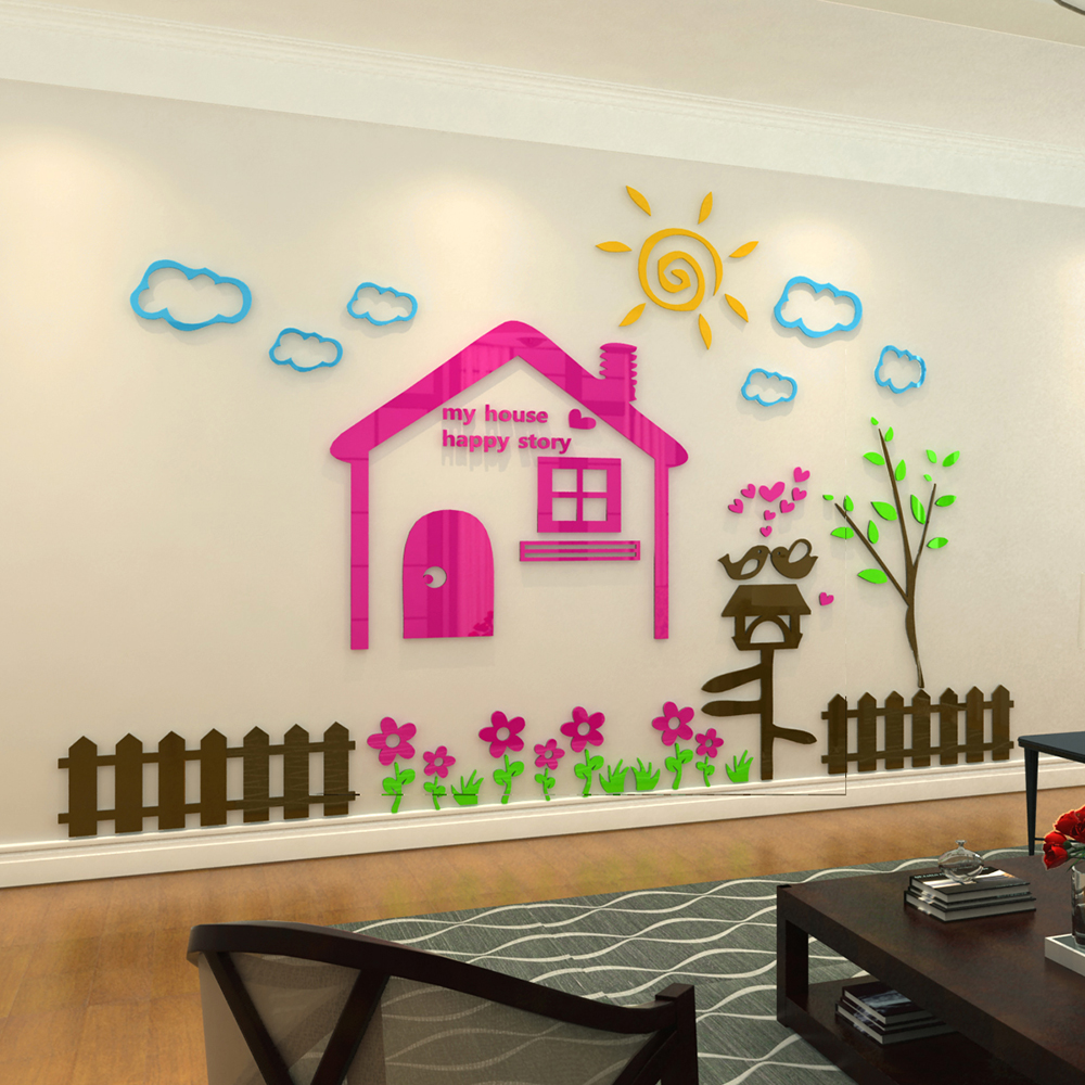 Big House Acrylic 3d Wall Stickers Childrens Room Cartoon Self Adhesive Kindergarten