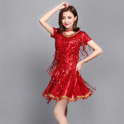 Latin Dance Costume sequins female adult modern dance square dance suit Dance Costume stage costume