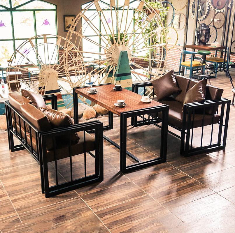 Винтаж Лофт промышленный бар с ветровым стеклом кованое железо двойное кафе чайный магазин карта сиденье диван-стол и стул сочетание