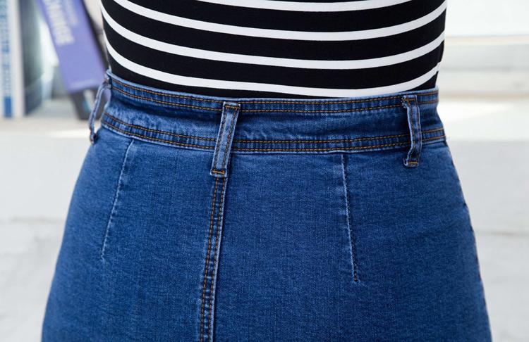 2016夏季大码牛仔包裙高腰a字裙半身裙休闲单排扣包臀百搭中裙女