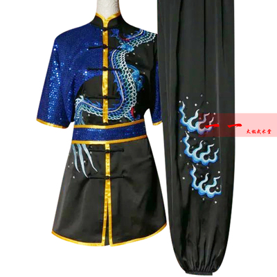 Chinese Wushu Costume Kungfu clothing Changquan Training Gongfu Clothes Men And Women Embroidery Dragon Performance Clothes Taekwondo Morning Training Colored Clothes